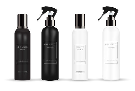 Realistic white and black cosmetic mockup.  Packages for cosmetic product.  Blank templates of containers vial with dropper, spray, bottle for shower gel, lotion, shampoo with  pump dispenser, jar, tu