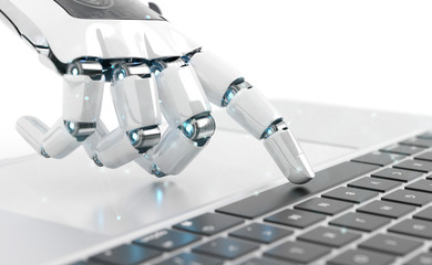 White robot cyborg hand pressing a keyboard on a laptop 3D rendering