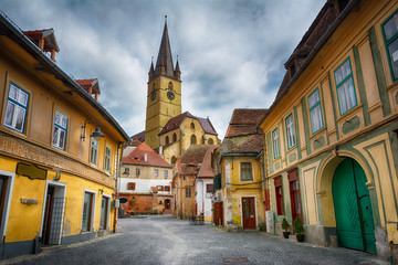 Cityscape of historical center of Sibiu town Fotomurales