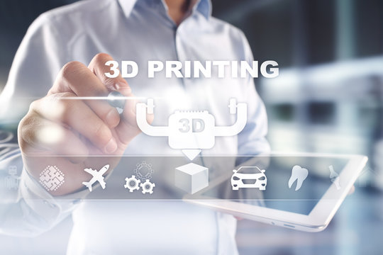 3D printing concept on virtual screen. Modern technology and innovations.