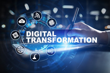 Digital transformation, Concept of digitization of business processes and modern technology. Wall mural