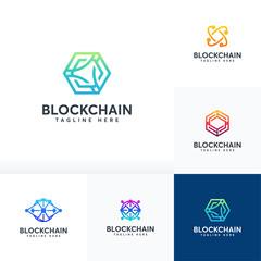 Set of Blockchain logo designs vector, Technology logo symbol