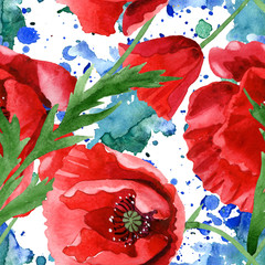Red poppy floral botanical flowers. Watercolor background illustration set. Seamless background pattern.