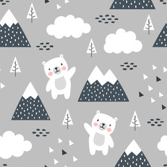 Teddy Bear Seamless Pattern Background, Happy cute bear in the forest between mountain tree and cloud, Cartoon Panda Bears Vector illustration for kids forest background with triangle dots