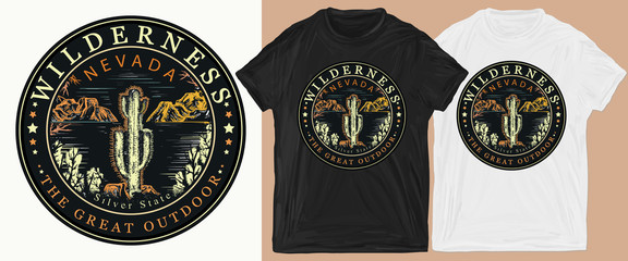 Nevada. Silver State. Wilderness, the great outdoors slogan. Symbol of tourism and travel. Print for t-shirts and another, trendy apparel design Fotoväggar