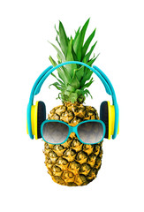 Funny pineapple with glasses and headphones. Tropical fruit isolated on white background. Tropical food design element
