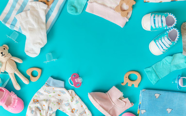 baby accessories for newborns on a colored background. selective focus.