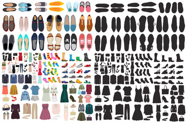 vector, isolated, set of men's and women's shoes and clothes