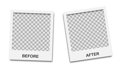 Template background before and after. Before and after photo frame. Comparison banner with empty space. Vector illustration