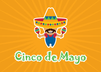 Cinco de Mayo vector. Mexican national holiday. Mexican vector. Mexican musician vector illustration. Mexican man cartoon character. Important day