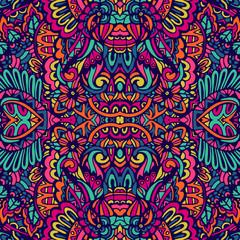 Fototapeta Abstract colorful festival doodle unique ethnic seamless pattern ornamental obraz