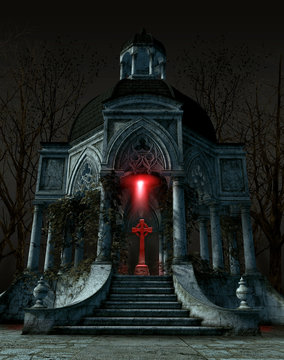 Gothic mausoleum tomb with a gravestone situated in the center of the interior space