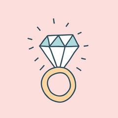 Bachelorette party concept. Diamond ring. Pastel color doodle.