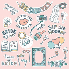 Bachelorette party concept. Set of stickers. Pastel color doodle.