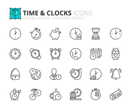 Outline icons about time and clocks