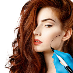 Beautiful woman face with correction lines.