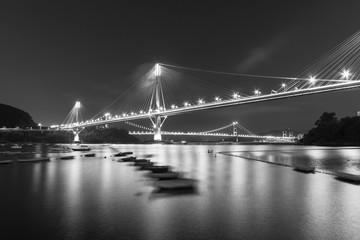 Fototapete - Ting Kau Bridge and Tsing Ma Bridge in Hong Kong at night