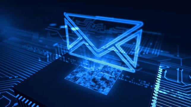 Digital communications concept with envelope 3d illustration