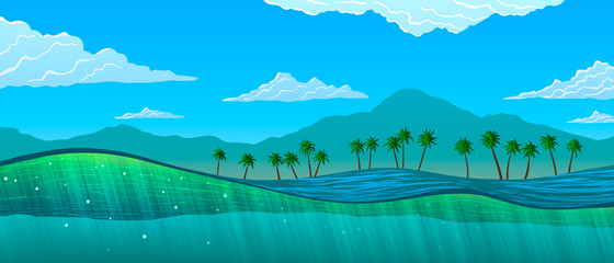 Papiers peints Vert corail Water cut with sun rays and bubbles and tropical landscape. Palm trees and mountains on ocean shore.