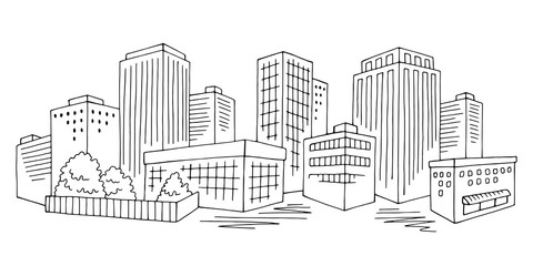 City graphic black white cityscape skyline sketch illustration vector