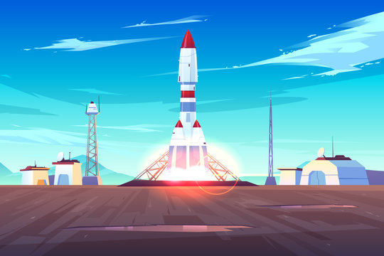 Spaceship start, heavy rocket carrier taking-off, launching satellite or international station on Earth orbit cartoon vector illustration. Space exploration, solar system planets colonization program