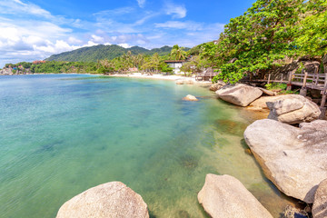 Fototapete - Bright beautiful Tropic landscape, Thailand, Koh Phangan Island, the coast of the Gulf of Thailand, Lila Beach