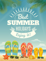Cool vector summer poster with summer elements.