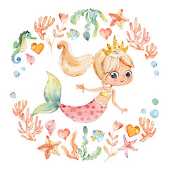 Mermaid Watercolor Surrounded by Frame of sea elements, Sea Horse, corals, bubbles, seashells, anchor, seaweeds. Ocean Kit. Young Underwater Woman Nymph Grace Mythology Princess.