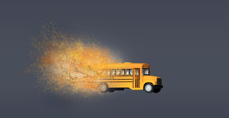 Dispersion effect on yellow school bus toy mode.Education concept.