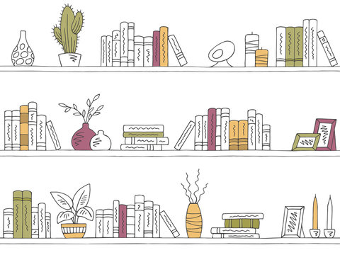 Shelves graphic color seamless pattern background sketch illustration vector