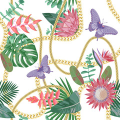 Golden Chains Seamless Pattern with Tropical Flowers.