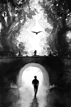 Original hand drawn ink painting of a person walking alone under a bridge surrounded by trees with a lonely bird flying overhead. Black and white