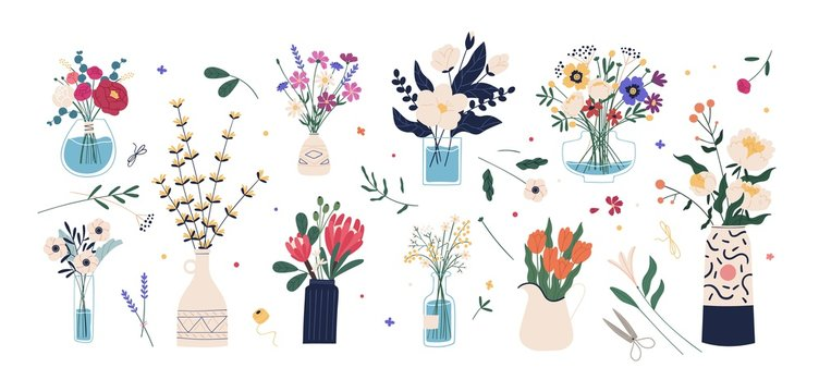 Collection of wild and garden blooming flowers in vases and bottles isolated on white background. Bundle of bouquets. Set of decorative floral design elements. Flat cartoon vector illustration.