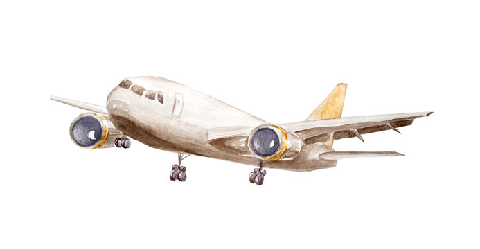 Watercolor white cargo plane with one turbine on wings and a yellow tail flies up into the air isolated on a white background for an illustration of logistics, freight traffic