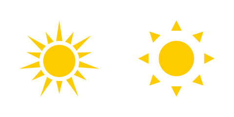 Two yellow Sun icons isolated on white background. Sun icons Fototapete