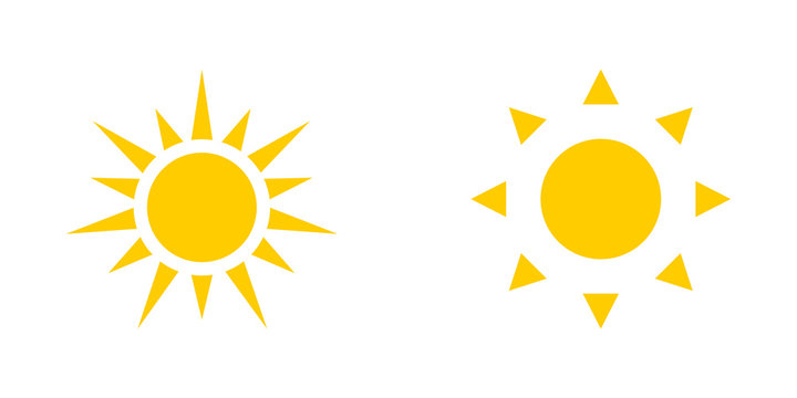Two yellow Sun icons isolated on white background. Sun icons