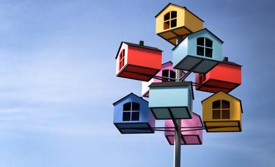 3D Illustration bunte Häusschen als Baum