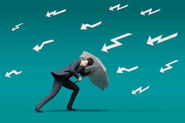 3D Illustration Businessman im Sturm und Gewitter