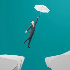 3d Illustration Businessman mit Regenschirm Aufstieg