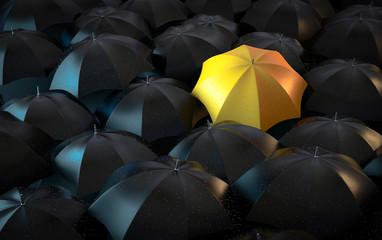 3D Illustration schwarze Regenschirme mit gelben Regenschirm