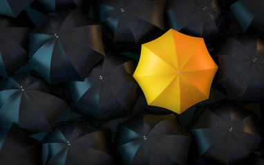 3D Illustration schwarze Regenschirme und gelber Regenschirm