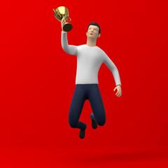 3D Illustration Sieger Pokal