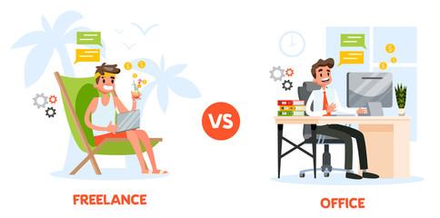 Freelance vs. office work concept. Man sitting