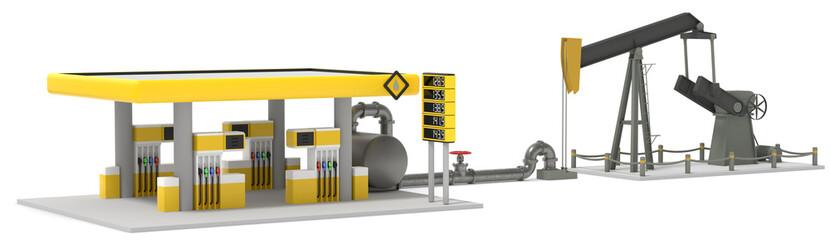 3D Illustration Tankstelle und Treibstoffgewinnung