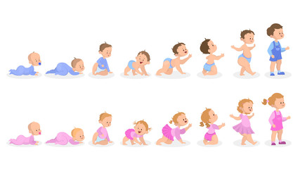 Baby growth process. From newborn to preschool child