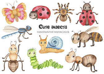 Watercolor set with baby cute cartoon insects. Illustration on white background for cards, invitations, projects, parties, blogs, baby showers.