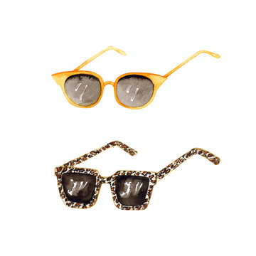 Watercolor sunglasses. Summer vacation items isolated on white. Turmeric color and leopard print. Hand painted set perfect for card making, vintage design and fabric textile. Illustration