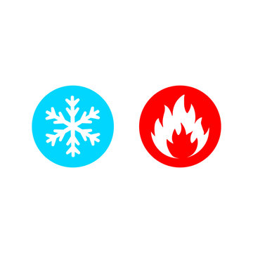 Hot and cold vector icon set on white