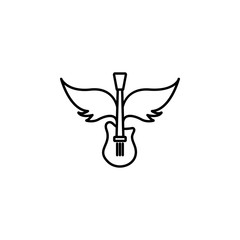 rock, guitar, wings icon. Element of rock and roll icon. Thin line icon for website design and development, app development. Premium icon