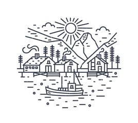 Round landscape with ship sailing in sea, houses, trees and mountains drawn with contour lines. Marine journey or adventure travel location. Monochrome vector illustration in modern linear style.